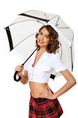 Woman dressed in retro style with umbrella — Stock Photo