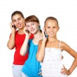 Stock Photo: Pretty teenage girls with mobile phone
