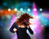 Young woman and disco background — Stock Photo