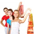 Pretty teenage girls with shopping bags — Stock Photo