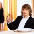 Young handsome msitting in restaurant — Stock Photo #9399988
