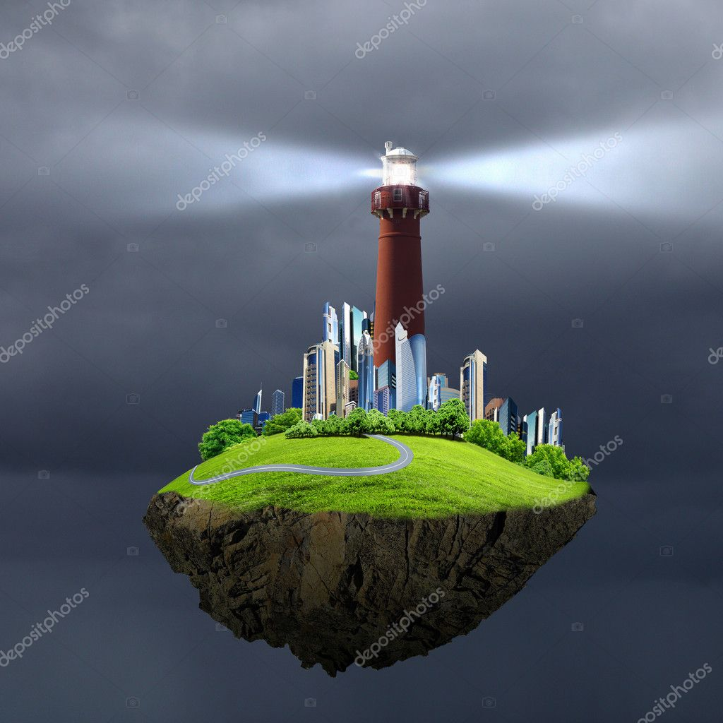 Collage with lighthouse at night with beam of light — Stock Photo #9399513