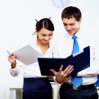 Two young business collegue in office — Stock Photo
