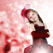 Little girl dressed up in beautiful dress — Stockfoto #9558373