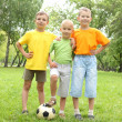 Boys in the park with a ball — Stok fotoğraf