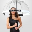 Woman in black dress with umbrella — Stock Photo