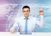 Young businessman making presentation — Stock Photo