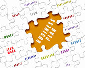 Puzzle pieces with business terms — Stock Photo