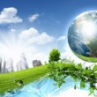 Green nature landscape with planet Earth — Stock Photo #9607639