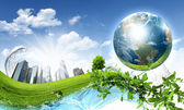 Green nature landscape with planet Earth — Stock Photo