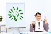 Young woman generating ideas in office — Stock Photo