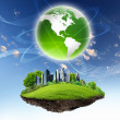 Green nature landscape with planet Earth — Stock Photo #9635427