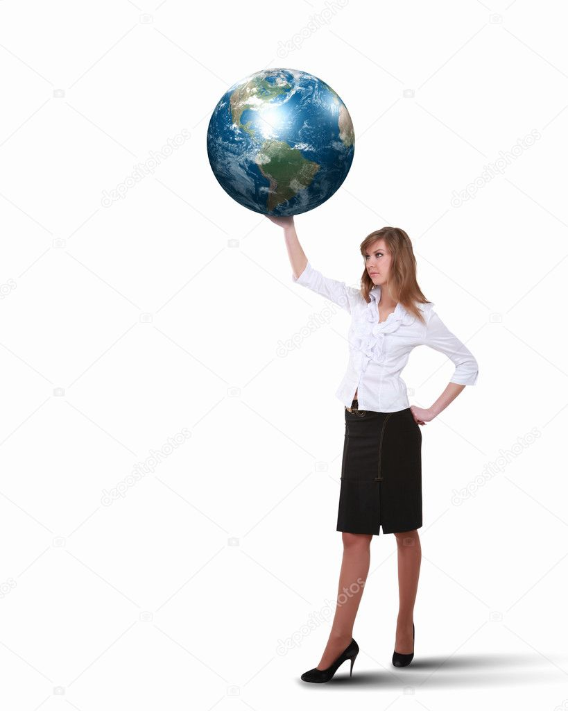 Collage of a businesswoman with our planet earth — Stock Photo #9635444