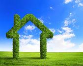 Green grass house symbol — Stock Photo