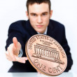Coin as symbol of risk and luck - Stock Photo
