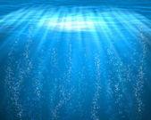 Mar azul bajo el agua con burbujas de aire — Foto de Stock