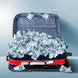 Suitcase full of banknotes — Stock Photo