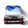 Red suitcase with city inside — Stock Photo