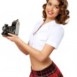 Woman dressed in retro style with camera — Stock Photo #9937813