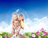 Collage with children and parents on green grass — Foto Stock
