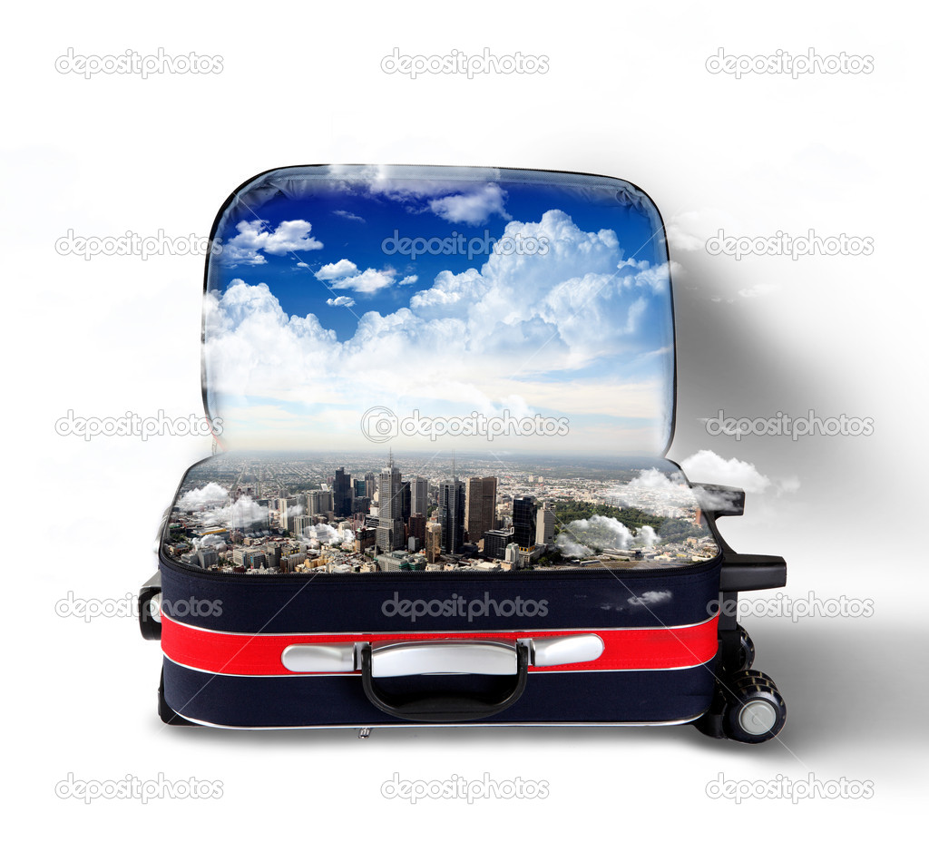 Red suitcase with city on the horizon and blue sky inside — Stock Photo #9936898