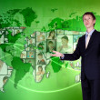 Young man against world map background — Stock Photo #9964902