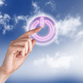 Power button against sky background — Stock Photo