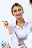 Portrait of a business woman in office — Stock Photo