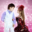 Portrait of boy and girl - Stock Photo