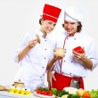 Portrait of a young cook in uniform — Stock Photo