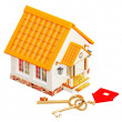 House and two gold keys — Stock Photo