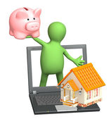 Puppet with piggy bank and house — Stock Photo