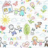 Sorunsuz geçmiş - mutlu aile — Stok Vektör