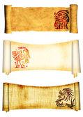 Pergaminos con los patrones tradicionales indios americanos — Foto de Stock