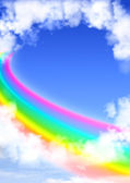 Frame from white clouds and rainbow — Stock Photo