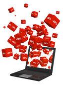 ноутбук и красные коробки с товары со скидкой — Стоковое фото