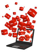Laptop and red boxes with the goods at a discount — Stock Photo