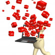 Laptop and red boxes with the goods at a discount — Stock Photo #9093010