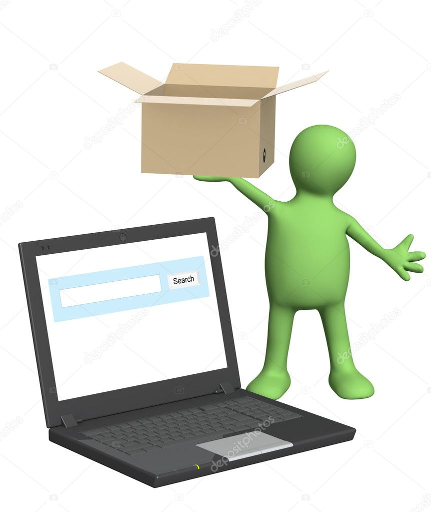 Online shipping. Puppet witn laptop and box. Isolated over white — Stock Photo #9235542