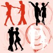 Set of vector silhouettes dancing mans and womans — Stock Vector