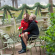 Romantic couple having a date in the Luxembourg garden — Stock Photo #10453894