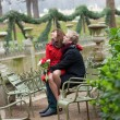 Romantic couple having a date in the Luxembourg garden — Stock Photo