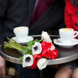 Dating couple in Parisicafe — Stockfoto #10454589