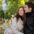 Romantic young couple at sunny autumn day — Stock Photo
