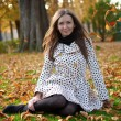 Beautiful young woman at fall - Stock Photo
