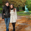 Romantic coouple in the Luxembourg garden of Paris, walking — Stock Photo