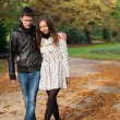 Young beautiful couple in the Luxembourg garden at fall. Paris, — Stock Photo #9314195