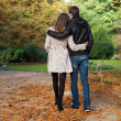 Stock Photo: Romantic coouple in the Luxembourg garden of Paris, walking