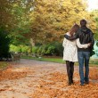 Young beautiful couple in the Luxembourg garden at fall. Paris, — Stock Photo #9314257
