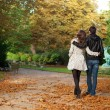 Dating couple in the Luxembourg garden of Paris — Stock Photo #9314282